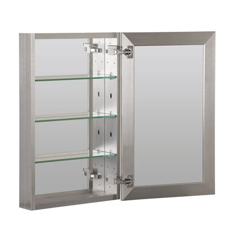 Brushed Nickel Medicine Cabinet With Lights by Foremost 19 Quot X 30 Quot Aluminum Medicine Cabinet Brushed