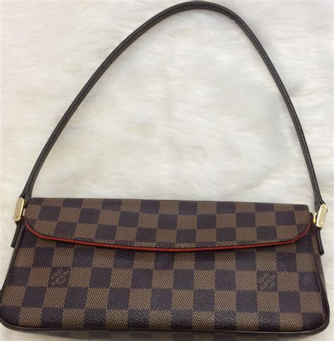 louis vuitton authentic small leather checkered signature logo print damier ebene recoleta