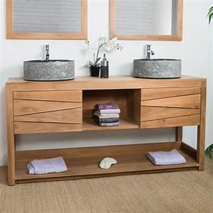meuble sous vasque double vasque en bois teck massif With delightful meuble lavabo bois massif 0 meuble salle de bain bois massif