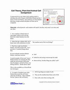 Cell Theory  Plant And Animal Cell Comparison Lesson Plan