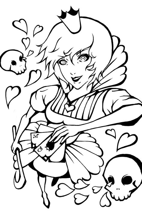 queen  hearts anime coloring pages sketch coloring page