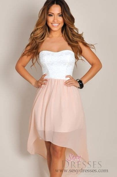 dress white dress pink dress lace strapless high