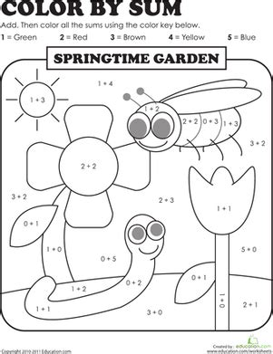 1st grade math addition coloring worksheet color by sum springtime garden worksheet education