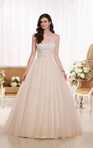 strapless sweetheart beaded bodice elegant a line tulle With beaded bodice wedding dress