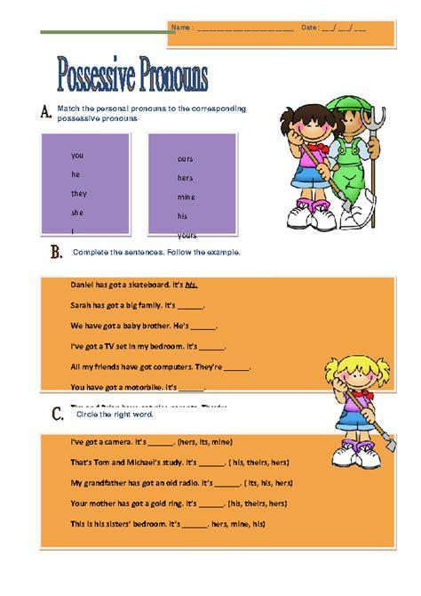 possessive pronouns elementary worksheet