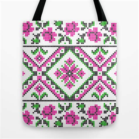 cross stitch pattern pink green black tote bag
