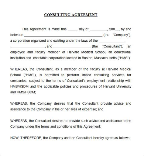 consulting agreement template free consulting agreement 5 free pdf doc