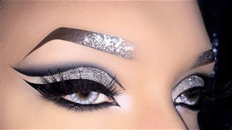sexy black cut crease  silver holo glitter makeup