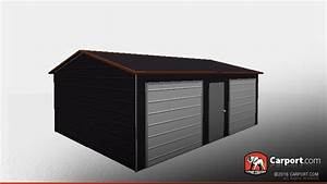 1839 x 2439 two car metal garage with boxed eave roof With 18x24 garage