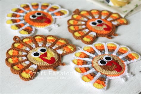 turkey coasters  crochet pattern craft passion