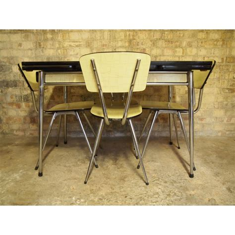 retro chrome and formica table with matching chairs