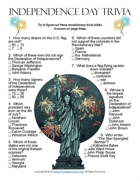 4th of july trivia 4th of july ideas independence day trivia wouldn t your family love to learn a little more