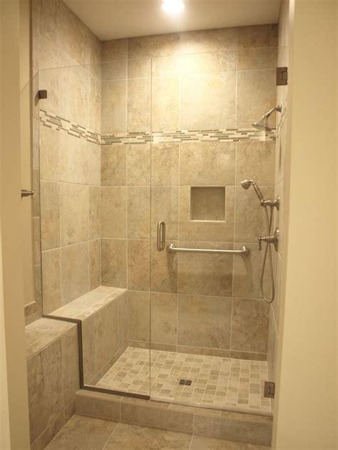 ceramic tile shower surround  built  bench niche