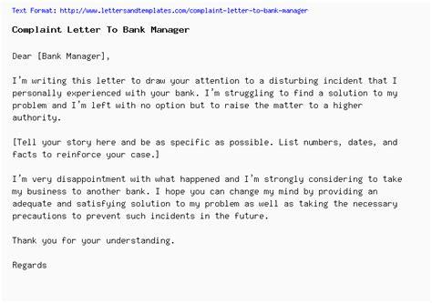 complaint letter  bank manager