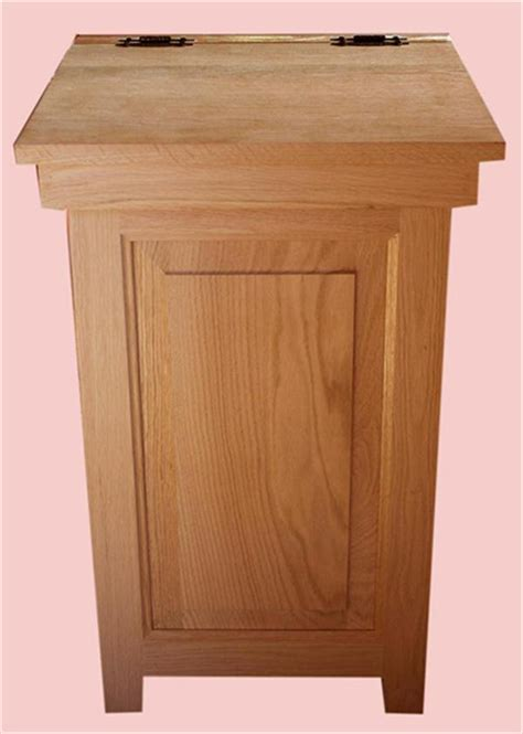 wooden trash cans for kitchen wood kitchen economy trash can amish oak hinge top 30 gal