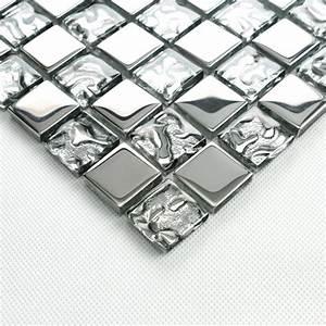Crystal, Glass, Tiles, Sheet, Square, Mosaic, Tiling, Bathroom, Wall, Tiles, Silver, Metal, Coating, Tile