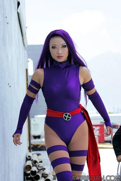 cosplay psylocke yaya han betsy braddock characters sexy female marvel costumes exotic costume elizabeth popular yayahan cosplayer anime purple dhl