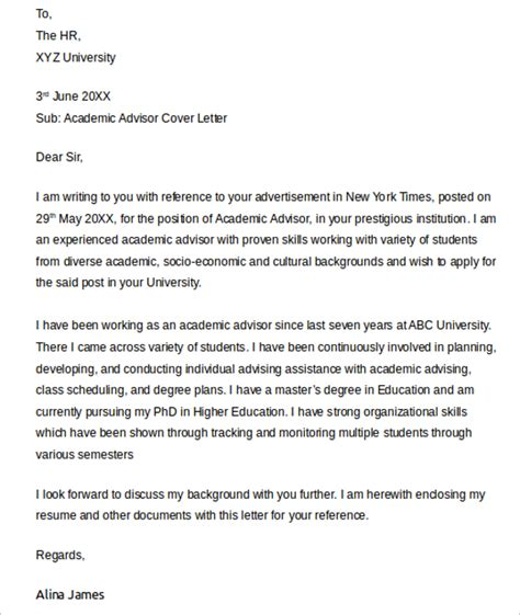 sle academic advisor cover letter 9 free documents