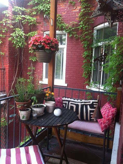 red small balcony  hang flower potted homemydesign
