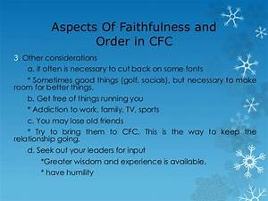 Couples for christ chapter talk Faithfulness and Order