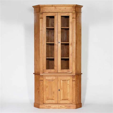 meuble cuisine vitré buffet d 39 angle bois massif ciré miel vitré 4 portes made