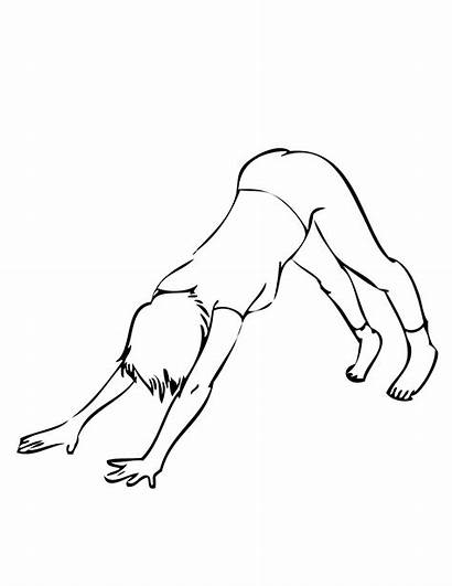 Coloring Yoga Pages Dog Clipart Downward Drawing