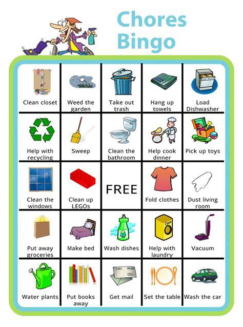 printable chores bingo chores  kids  age