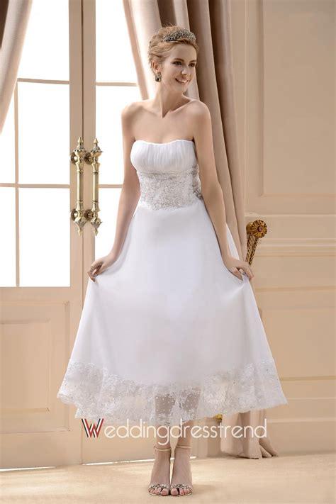 cutest wedding dresses buy a line strapless tea length organza lace wedding