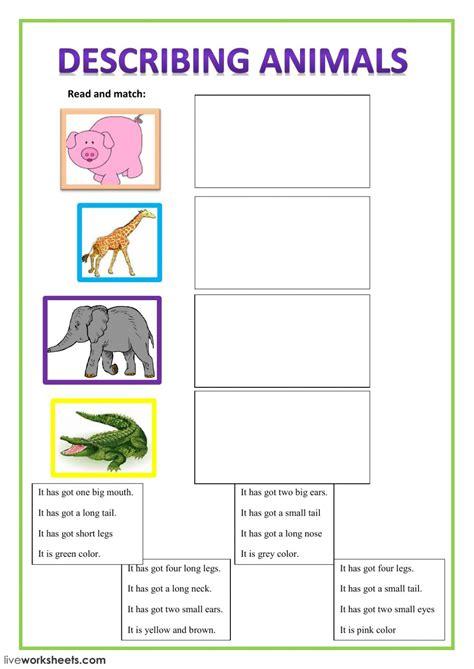 describing animals worksheet describing animals interactive worksheet