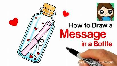 Draw Bottle Message Easy Drawing Drawings Kawaii