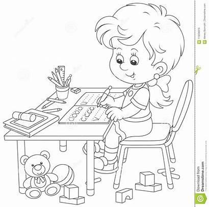 Homework Cartoon Writing Doing Toys Illustration Children