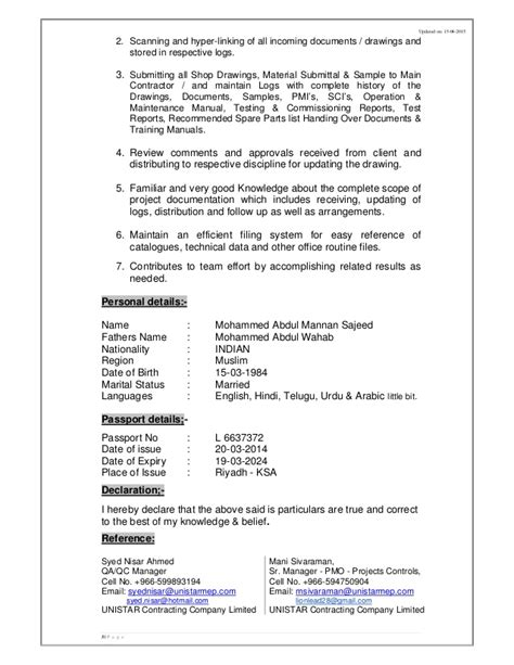 cv abdul mannan document controller qa qc