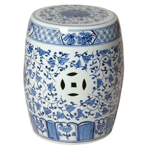 outdoor garden ceramic painted blue stool table