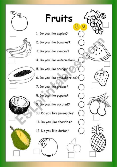 Fruits  Do You Like?  Esl Worksheet By Philipr