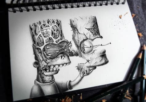 Creepy Pencil Drawings Of Famous Cartoon