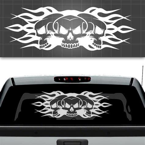 skull and flames truck window decal truck window sticker