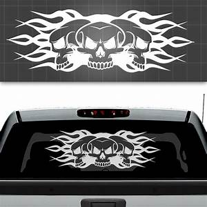 skull and flames truck window decal truck window sticker With truck window lettering