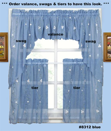 embroidery kitchen curtain valance tiers or swags