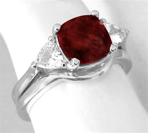 stone garnet engagement ring  wedding band