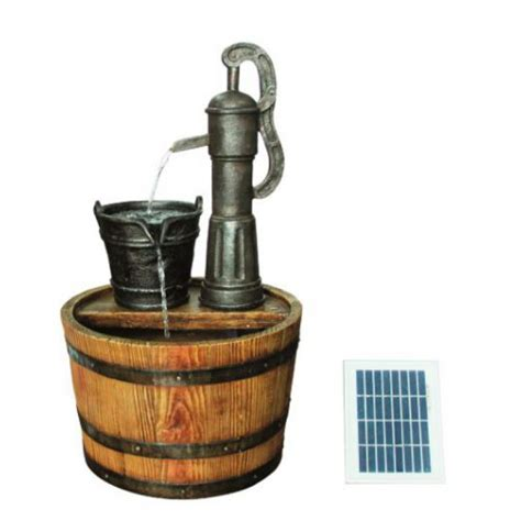 strobe light water fountain water fountain barrel with a pump solar powered