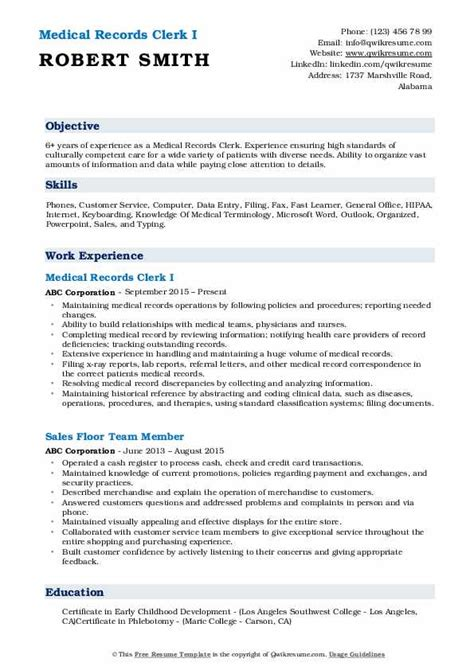 medical records clerk resume samples qwikresume