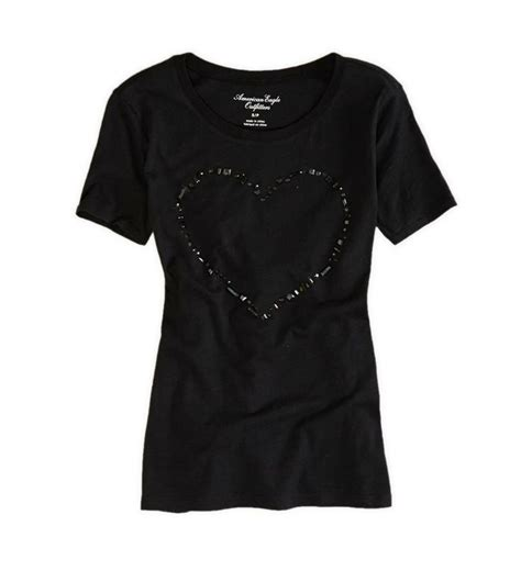 Graphic t-shirt - heart - True Black - American Eagle ...