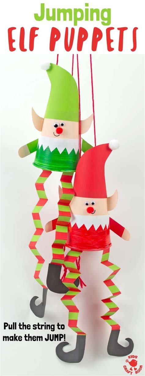 jumping elf puppets paper cup crafts christmas arts