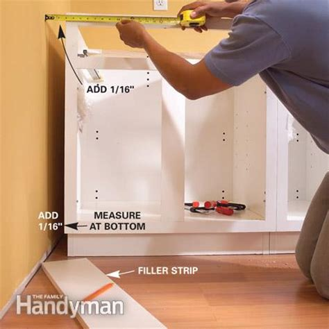 kitchen cabinet filler strips installing kitchen cabinets the family handyman