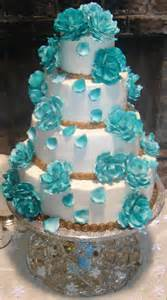 wedding cakes with turquoise blue color food and drink - Turquoise Wedding Cakes