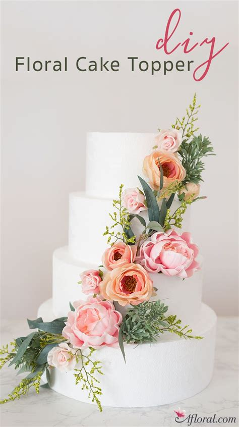 how to put silk flowers on a wedding cake in 2019 diy