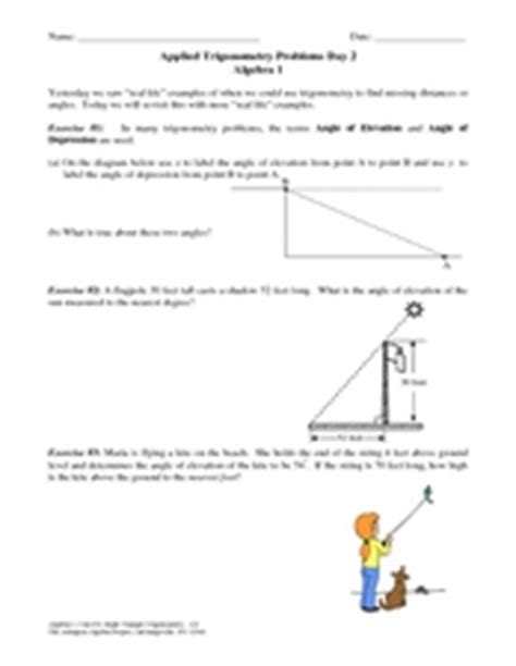 applied trigonometry problems day 2 worksheet for 9th 10th grade lesson planet