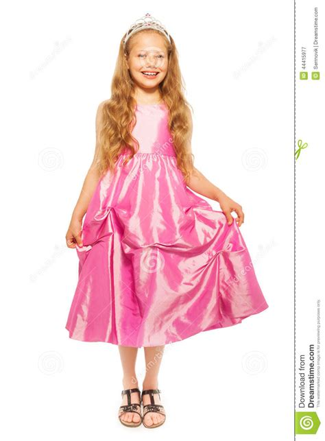 Little Girl In Pink Dress With Princess Crown Stock Image
