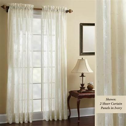 Sheer Curtain Panels Croscill Embroidered Hammond Panel