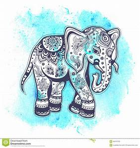 vintage-watercolor-elephant-illustration-blue-background ...